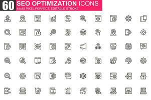 conjunto de ícones de linha fina de otimização de seo