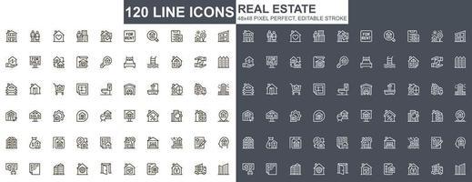 conjunto de ícones de linha fina de imóveis vetor