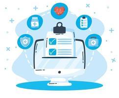tecnologia de saúde online via computador vetor