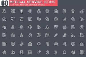 conjunto de ícones de linha fina de serviço médico