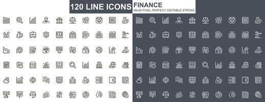 conjunto de ícones de linhas finas de finanças vetor