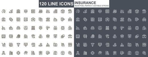 ícones de linha fina de seguros vetor