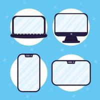 conjunto de ícones de dispositivos eletrônicos vetor