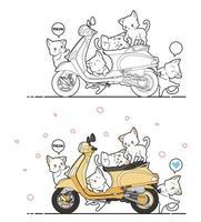 gatos bonitos e desenhos de motos para colorir para crianças