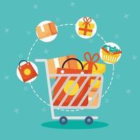 carrinho de compras e ícones de comércio vetor
