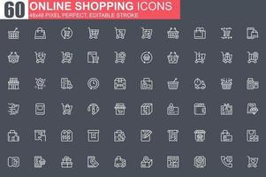 conjunto de ícones de linha fina de compras online vetor