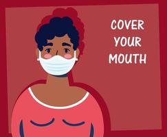 mulher usando uma máscara facial com letras vetor