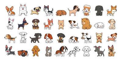 conjunto de tipos diferentes de cães de desenho animado vetor