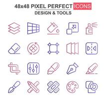 design e ferramentas conjunto de ícones de linha fina
