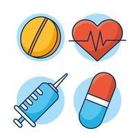 conjunto de ícones de saúde e médicos vetor