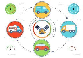 Ícones gratuitos do carro do vetor do projeto liso