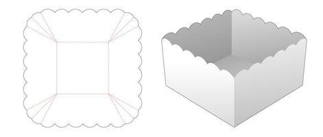 molde de tigela quadrada de comida cortada vetor