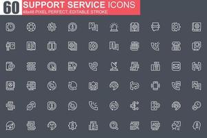 conjunto de ícones de linha fina de serviço de suporte