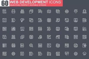 conjunto de ícones de linha fina de desenvolvimento web vetor