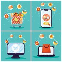 conjunto de ícones de compras online e comércio eletrônico
