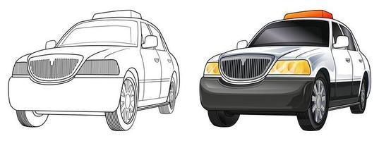 desenho de carro de polícia para colorir para crianças vetor