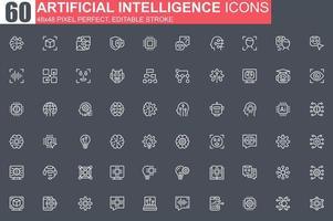 conjunto de ícones de linha fina de inteligência artificial
