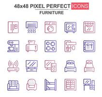 conjunto de ícones de linha fina de móveis
