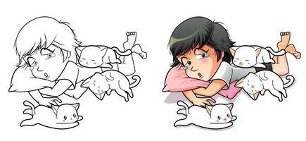 página para colorir de desenho animado de menina e 3 gatos para crianças
