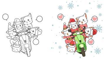 Desenhos animados de papai noel e motocicleta para colorir para crianças