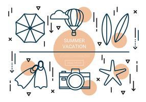 elementos de vetor de férias de verão lineares grátis
