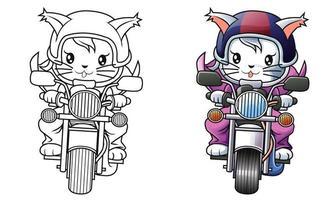 Página para colorir desenho de gato e motocicleta para crianças