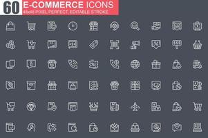 conjunto de ícones de linha fina de comércio eletrônico vetor