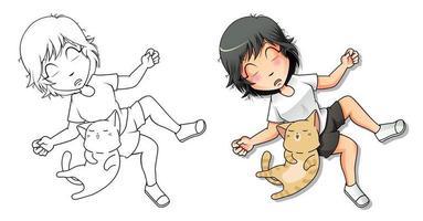 página para colorir desenho animado amante de gatos para crianças