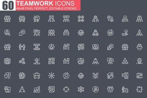 conjunto de ícones de linha fina de trabalho em equipe vetor