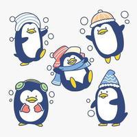 conjunto adorável pequeno pinguim brincalhão vetor