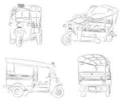 página para colorir de desenho animado de triciclos tailandeses para crianças vetor