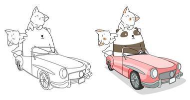 página para colorir de desenhos animados de panda e gatos dirigindo um carro