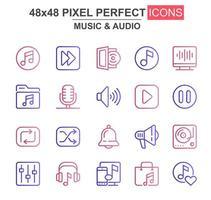 conjunto de ícones de linha fina de música e áudio
