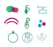 conjunto de nove logotipos it vetor