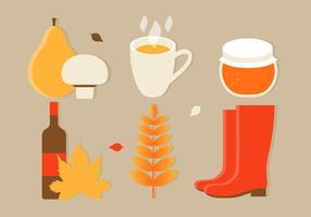 Ilustração plana dos elementos do outono do vetor do projeto plano