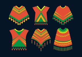 Ícones de roupa de poncho vetor