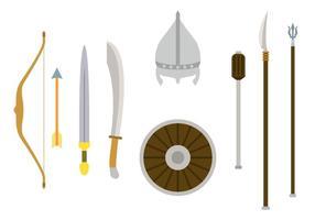 Vetores planos da armadura mongol