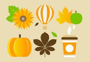 Free Flat Design Vector Elementos e ícones de outono