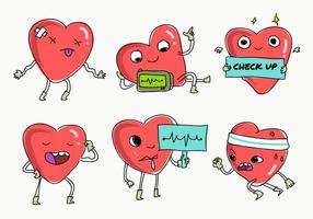 Heart Rhythm Check Up Fun Character Ilustração vetorial vetor