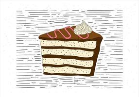 Ilustração desenhada mão desenhada à mão do pedaço de bolo vetor