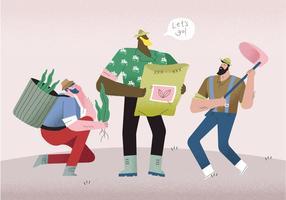 Homens camponeses prontos para cultivar ilustração vetorial