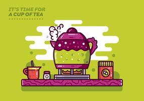 Vetor do tempo do chá