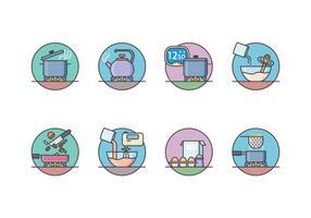 Conjunto de ícones de processo de cozimento grátis vetor