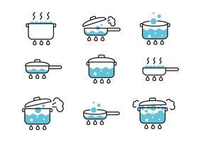 Ícones de água fervente vetor