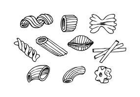 Vector de ícones desenhados à mão de macarrão grátis