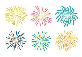 Fogos de artifício com coleção de vetores de fundo branco
