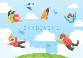 Skydiving Ilustração vetorial vetor
