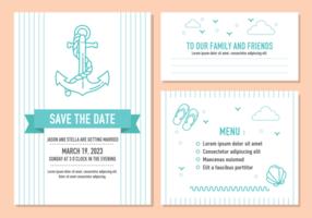 Vector de cartão de convite de casamento de praia