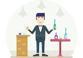 Homem no Bar segurando uma garrafa e abridor de saca-rolhas vetor