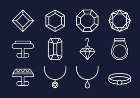 Coleções de ícones de jóias vetor